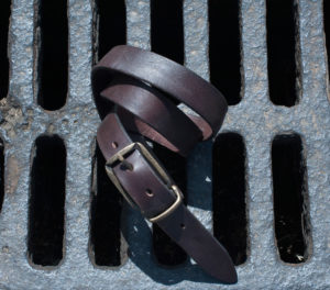 Smooth brown leather belt