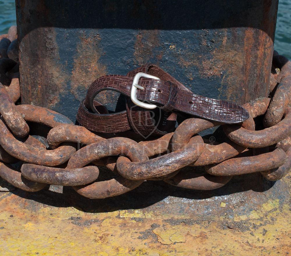 Cintura in pelle marrone